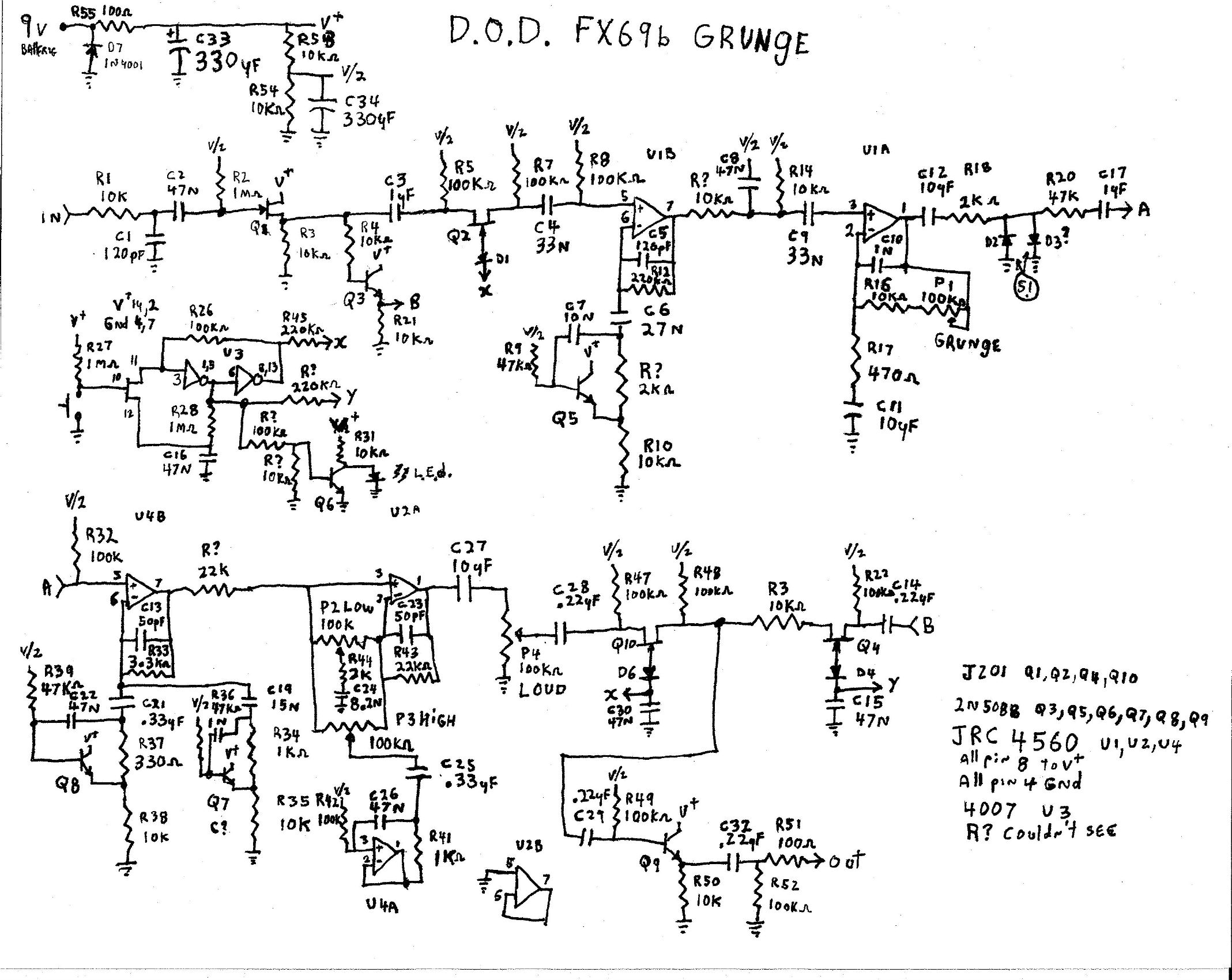 Selected Schematics Wah Pedal Wiring Diagram Fx69 Grunge