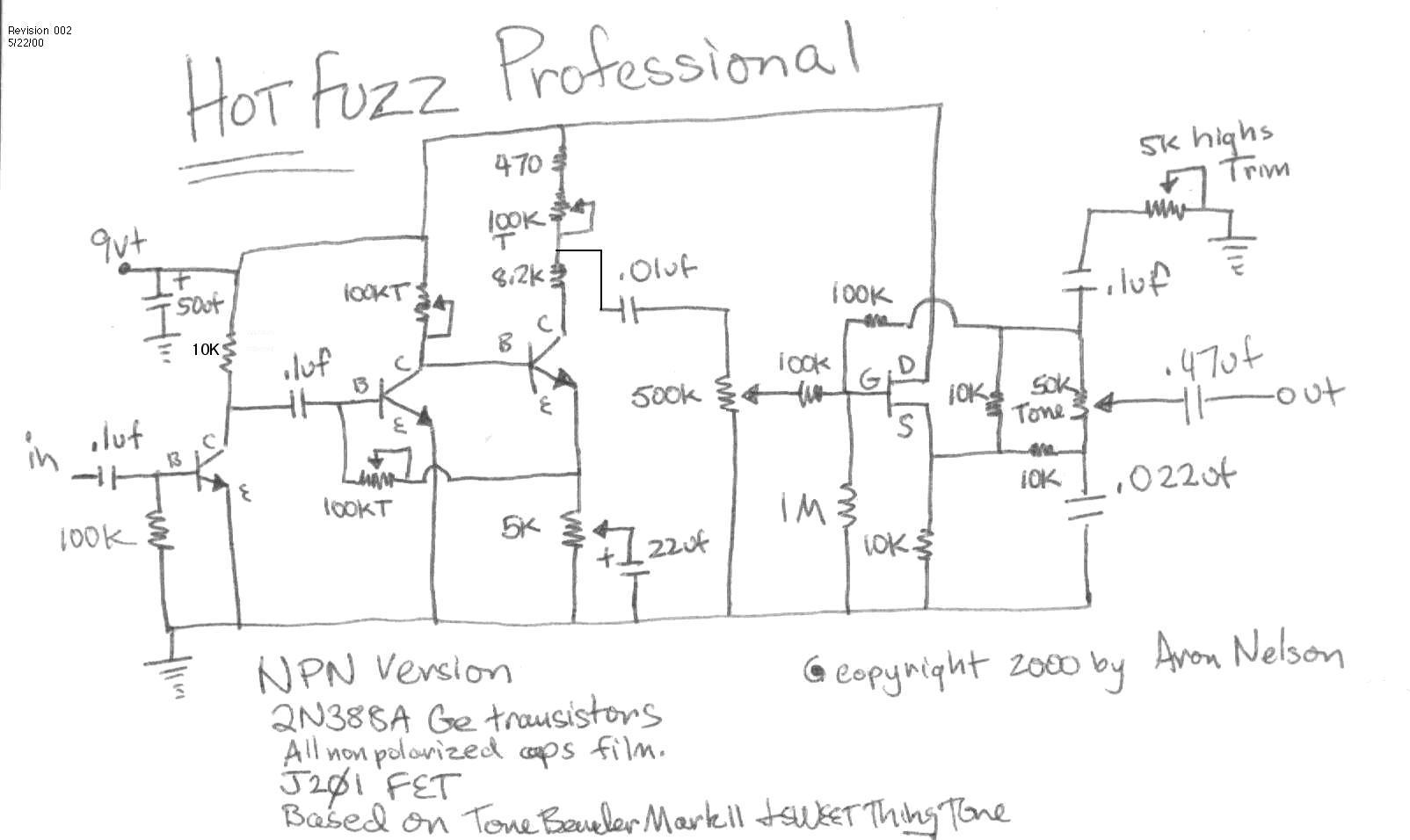 Selected Schematics Circuit Used In Experiment The Diode Is A 1n914 Silicon Hot Fuzz My Take On Colorsound Tone Bender Professional Mark Ii With Sweet Thing Control Im Still Working This One So Stay Tuned