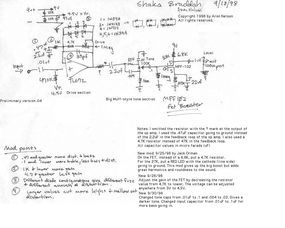 Selected Schematics Wah Circuit But With No Up And Down Variation Like The Pedal Allows Shock Ah Brah Dah Preliminary Version Ic Based Distortion Fet Booster At End When Drive Knob Is Turned All Way Level