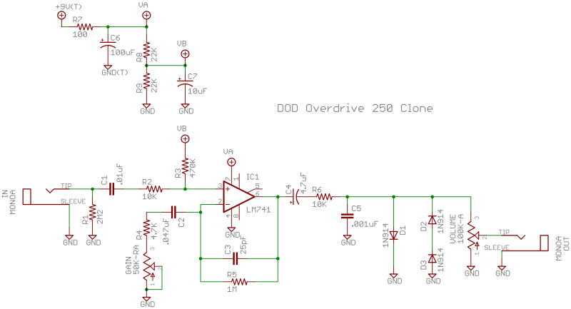 Icbased Overdrive Introductionrhdiystompboxes: Overdrive Circuit Schematics At Gmaili.net